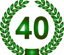 illustration of a green laurel wreath 40 years
